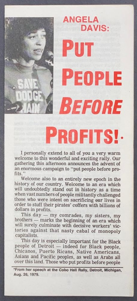 Put people before profits! Angela Davis.