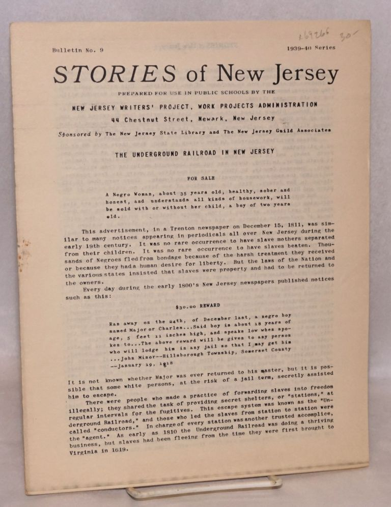 The underground railroad in New Jersey. Work Projects Administration. New Jersey Writers' Project.