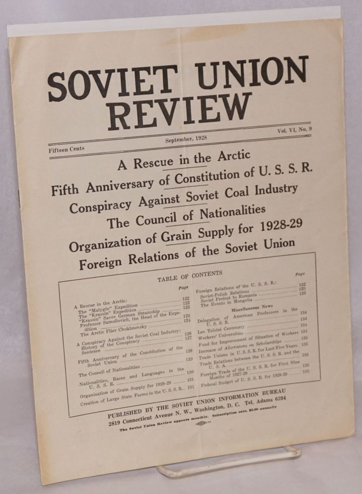 A rescue in the arctic; article in Soviet Union Review, vol. VI, no. 9. arctic.