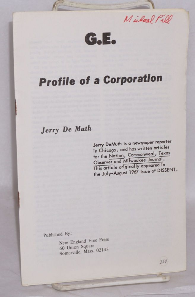 G.E. profile of a corporation. Jerry De Muth.