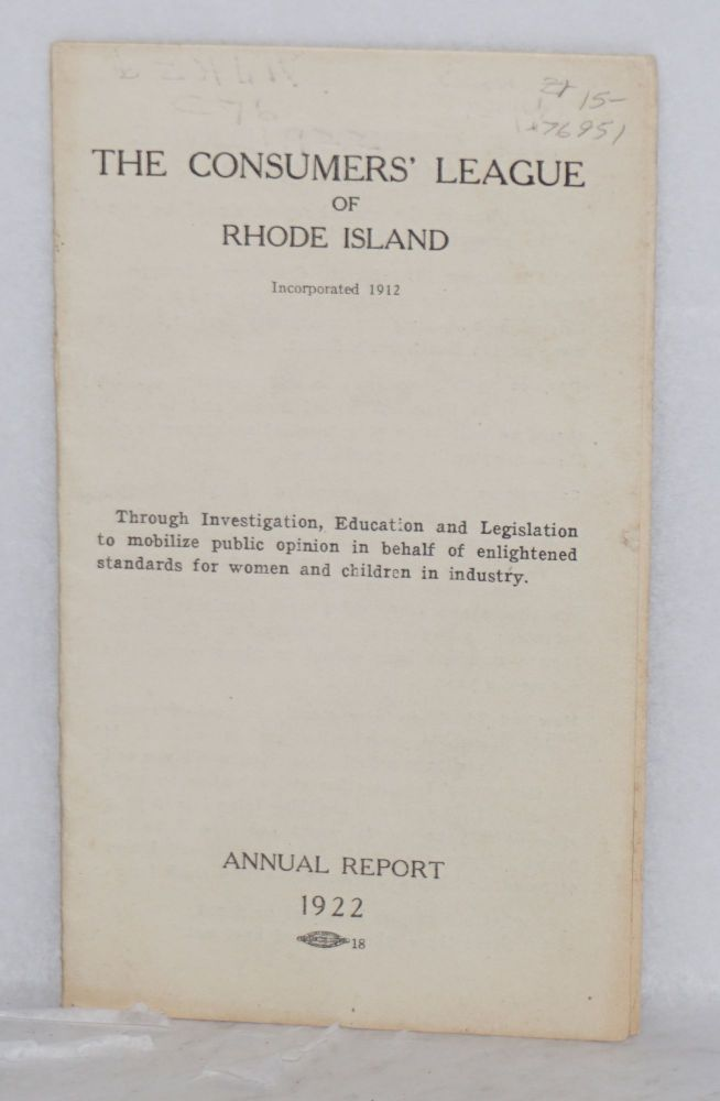 Annual report, 1922. Consumers' League of Rhode Island.