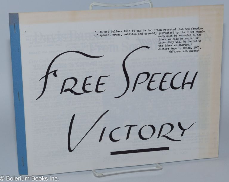 Free speech victory. Citizens Committee for Constitutional Liberties. Youth Committee.