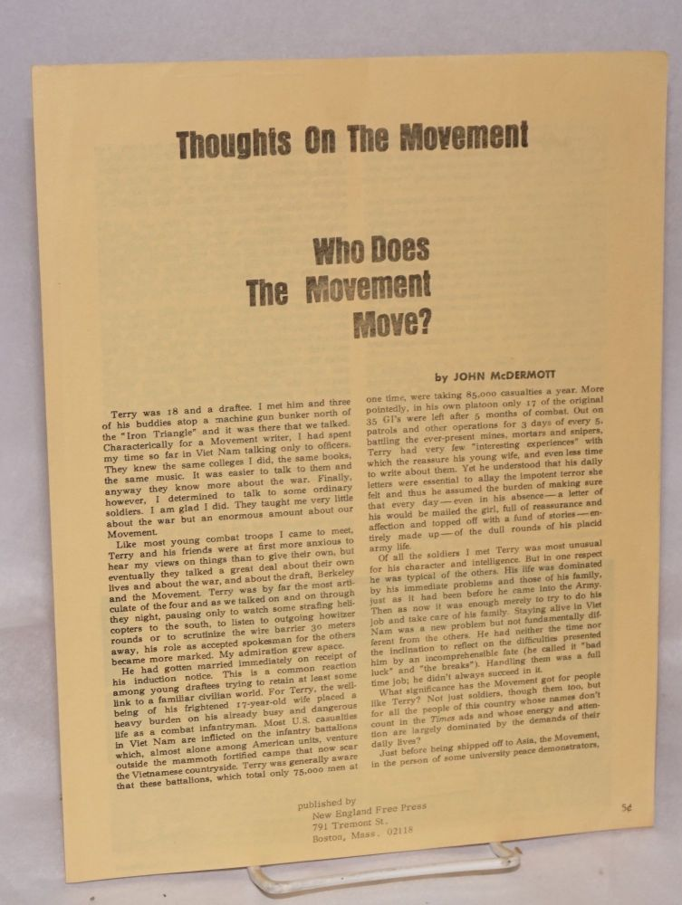Thoughts on the movement; who does the movement move? John McDermott.