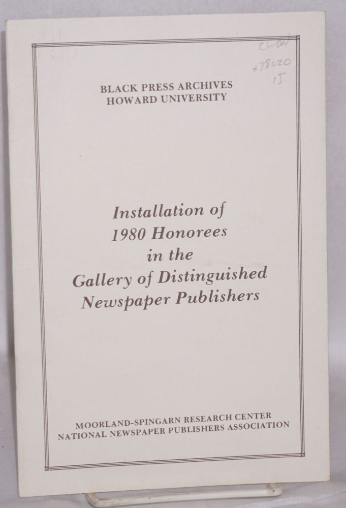 Installation of 1980 honorees in the gallery of distinguished newspaper publishers. Howard University Black Press archives.