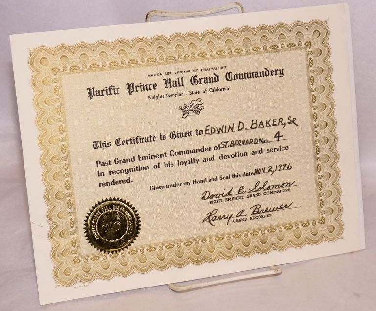 Certificate. Pacific Prince Hall Grand Commandery. Knights Templar - State of California.