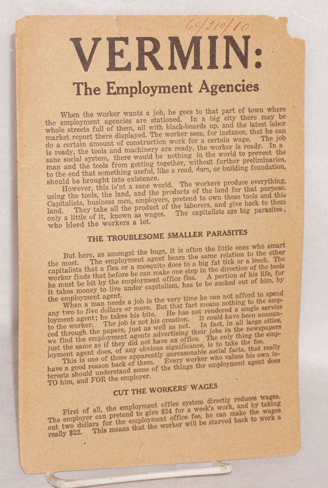 Vermin: the employment agencies. Industrial Workers of the World.