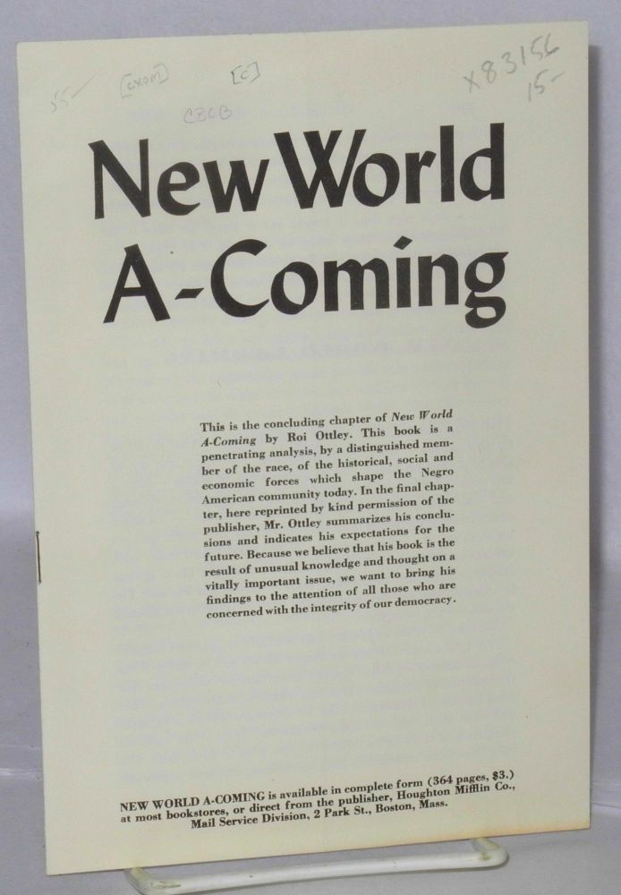 New world a-coming. Roi Ottley.