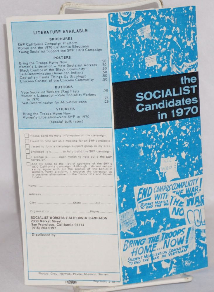 The Socialist candidates in 1970. Socialist Workers California Campaign.