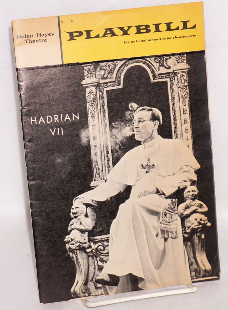 Playbill: for Hadrian VII starring Alec McCowen at the Helen Hayes Theatre. Peter Luke.