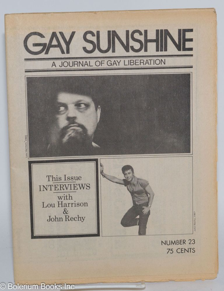 Gay sunshine; a newspaper of gay liberation, #23, Prairie Fire: a gay male critique. John Rechy, Ron DeLuca.