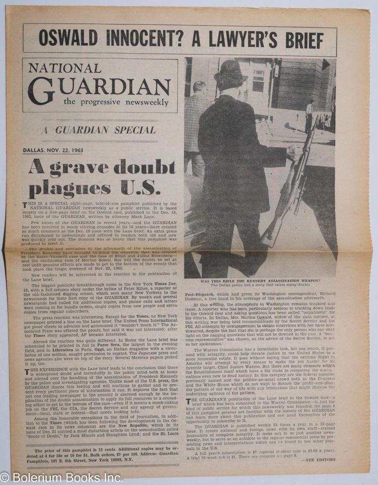 Oswald innocent?; a lawyer's brief; a Guardian special [special issue of the National Guardian, the progressive newsweekly]. Mark Lane.