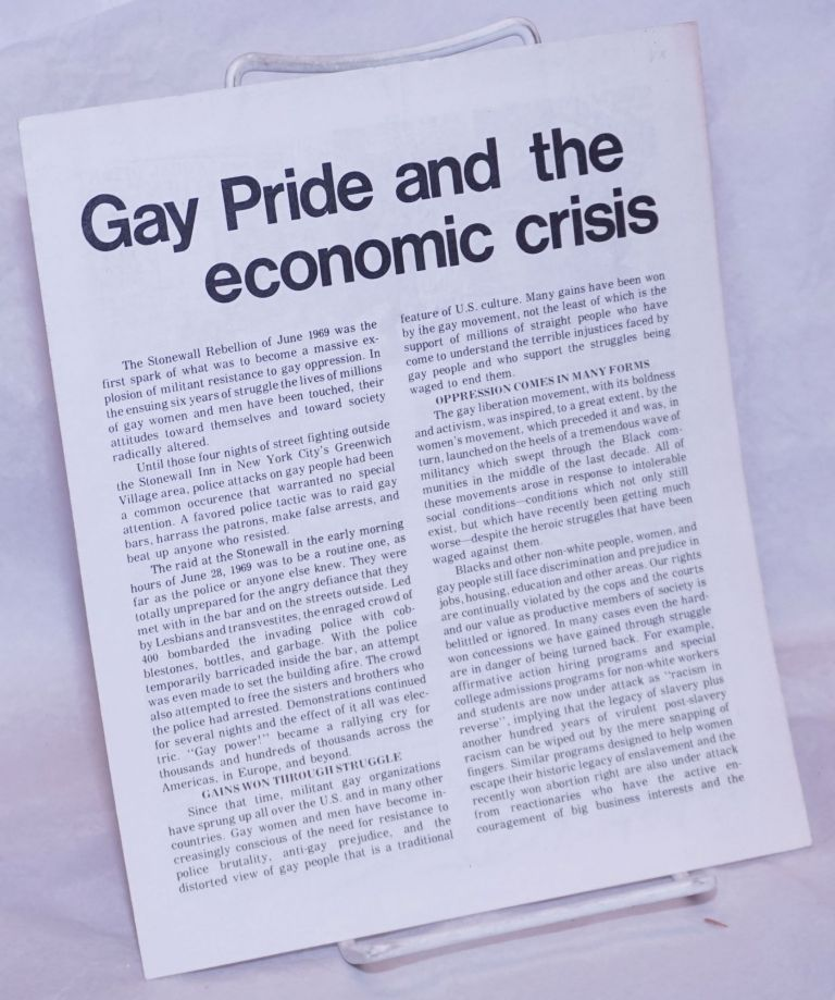 Gay pride and the economic crisis. Youth Against War, Fascism. Gay Caucus.