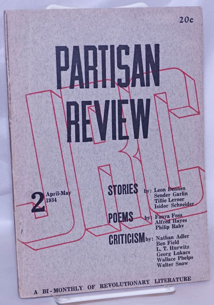 Partisan review; a bi-monthly of revolutionary literature. Vol 1., no. 2, April-May 1934
