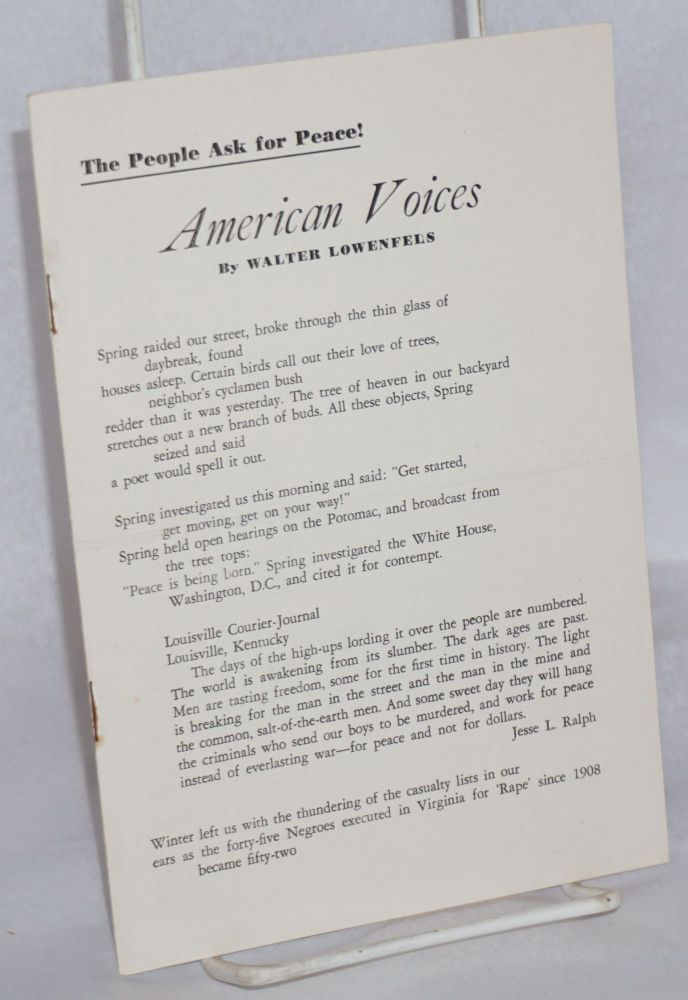 American voices. Walter Lowenfels.