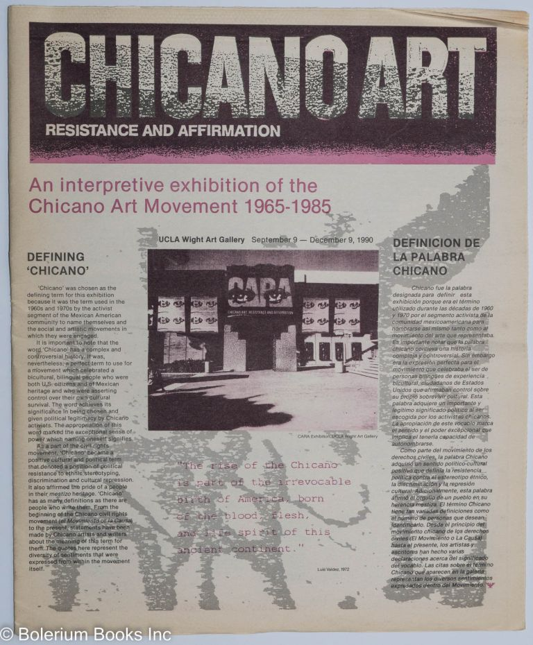 Chicano art; resistance and affirmation, an interpretive exhibition of the Chicano art...