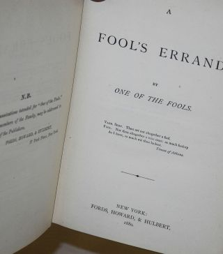 A fool's errand. By one of the fools