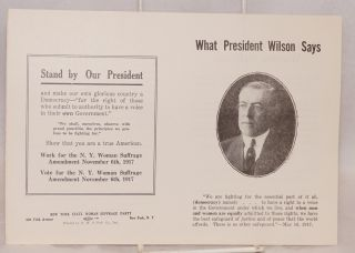 What President Wilson says. New York State Woman Suffrage Party