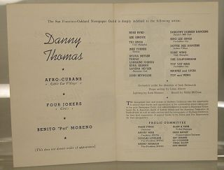 Eighteenth annual Newspaper Frolic presents;; Danny Thomas; Saturday evening, April 5, 1952, Civic Auditorium, San Francisco, staged and directed by George Heinz, produced by Frank Funge: playbill