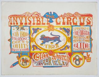 The Invisible Circus; a 72 hour environmental community happening [handbill]. Dave Hodges, artist, Glide Foundation, The Diggers.