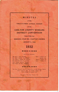 Minutes of the twenty-first annual session of the Chilton County District Baptist Women's Association; held with the Morning Star no. 1 Baptist Church, August 5, 1932