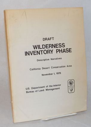 Draft; wilderness inventory phase; descriptive narratives, California Desert Conservation Area,...