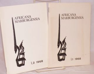 Africana Marburgensia; volume I, nos. 1 and 2