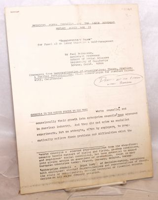 "American Works Councils and the Labor Movement before World War II: ""Supplementary paper"" for..."