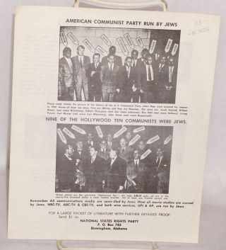American Communist Party run by Jews, nine of the Hollywood Ten communists were Jews. National...