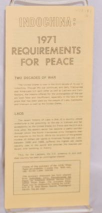 Indochina: 1971 requirements for peace. American Friends Service Committee