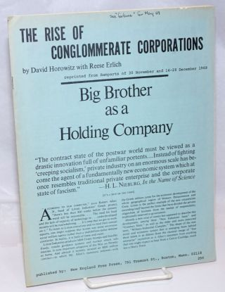 The rise of conglomerate corporations. David Horowitz, Reese Erlich