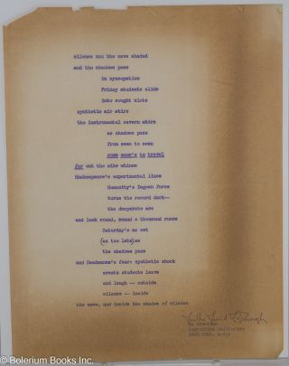 Silence and the Cave Shaded [handbill/broadside] [signed]. Martha Merrill McDonough