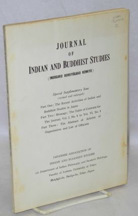 Journal of Indian and Buddhist studies.; Special supplementary issue (revised and enlarged). Part...