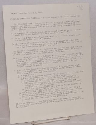 Steering Committee proposal for joint majority-minority resolution, adopted Sunday, July 5, 1969....