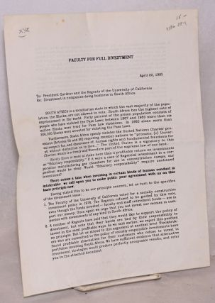 Faculty for Full Divestment: letter dated April 22, 1985