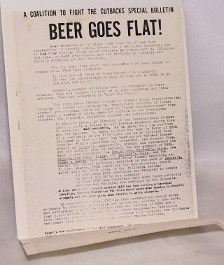 BEER goes flat! A Coalition to Fight the Cutbacks special bulletin
