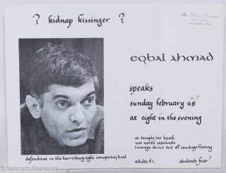 Kidnap Kissinger? Eqbal Ahmad speaks. Eqbal Ahmad