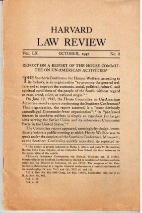 Report on a Report of the House Committee on Un-American Activities