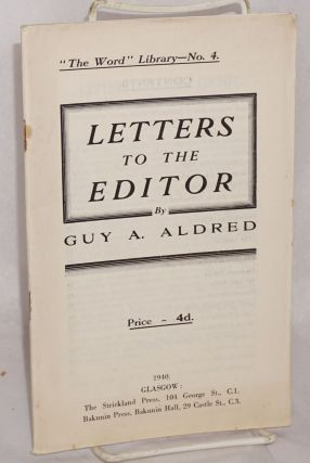 Letters to the editor. Guy A. Aldred