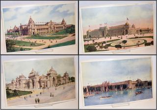 Group of eight color prints from the San Francisco Call illustrating buildings at the 1904...