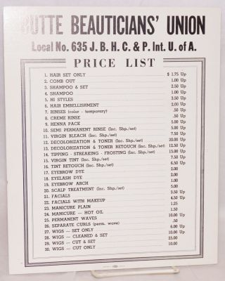 Butte Beauticians' Union No. 635, J.B.H.C. & P. Int. U. of A. Scale of Prices