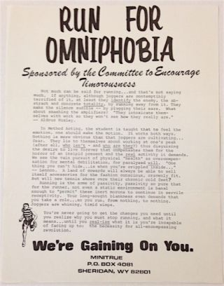 Run for Omniphobia. Sponsored by the committee to encourage timorousness (handbill). Gerry Reith
