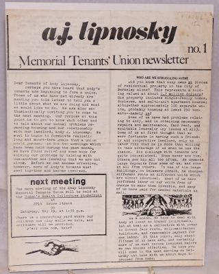 A.J. Lipnosky Memorial Tenants' Union newsletter. No. 1