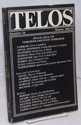 Telos No. 54 (Winter 1982-83). Special issue on terrorism and state terrorism