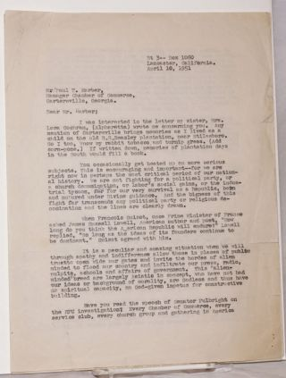 Carbon copy of three-page typed letter to Paul T. Harber, of the Cartersville, Georgia Chamber of...