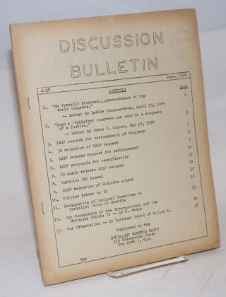 Discussion bulletin, A-18, June, 1954. Socialist Workers Party.