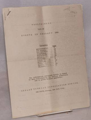 Preliminary list of events in Germany, 1935. German Tourist Information Office