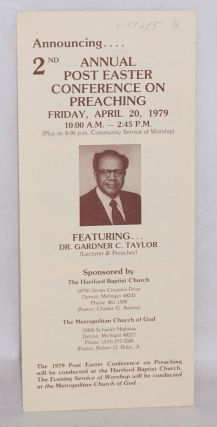 Announcing .... 2nd annual post Easter conference on preaching; Friday, April 20, 1979 ......