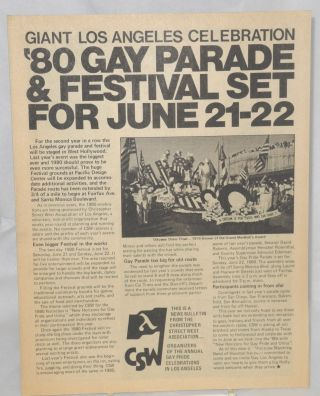Giant Los Angeles celebration: '80 gay parade & festival set for June 21-22