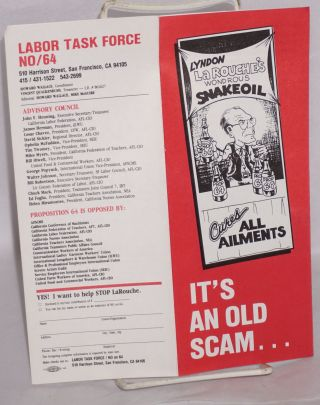 It's an old scam ... and it's on the ballot in California [brochure]. Lyndon LaRouche