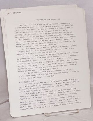 [Group of 31 documents from the 1983-84 internal strife that decimated the SWP and gave rise to new Trotskyist formations, including Socialist Action]